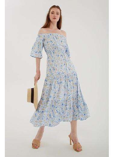 Modaset Uzun Desenli Elbise Mavi Mavi